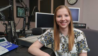 Haley Pierce, a UNK junior from West Point, is a finalist in the best public affairs program category of the Intercollegiate Broadcasting System College Media Awards for a piece she produced on student recruitment and retention. (Photo by Corbey R. Dorsey, UNK Communications)