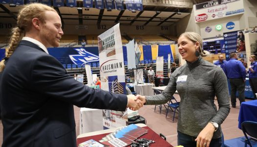 UNK's spring Career and Graduate School Fair is 12:30-3:30 p.m. Feb. 7 at UNK's Health and Sports Center. Nearly 100 employers will be on hand looking to hire. The event is free and open to the public. (Photo by Corbey R. Dorsey, UNK Communications)