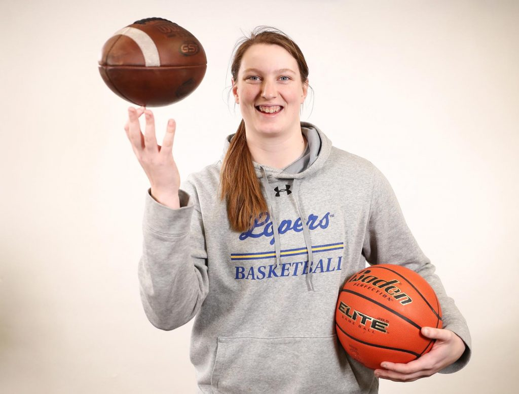 UNK women's basketball player Brooke Carlson developed her toughness and physicality during high school, when she played varsity football for Elkhorn. (Photo by Corbey R. Dorsey, UNK Communications)