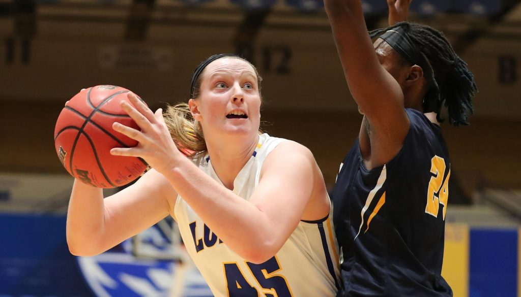 Freshman center Brooke Carlson (45) leads the UNK women's basketball team in points, blocks and shooting percentage this season. She's played in all 20 games with nine starts. (Photo by Corbey R. Dorsey, UNK Communications)