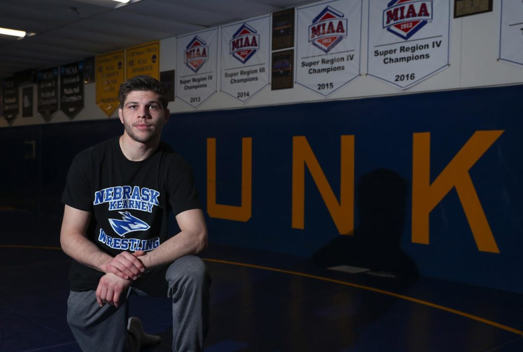 After leaving the University of Iowa, Matt Malcom enrolled at UNK with a renewed focus on both athletics and academics. The All-American wrestler is a dean's list student who wants to teach high school math after earning his degree. (Photo by Corbey R. Dorsey, UNK Communications)