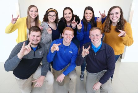 UNK's New Student Enrollment leaders for 2019 include (front row, left to right): Jacob Roth, Denton; Noah Valasek, Spalding; Mitch Robey, Papillion; and (second row, left to right) Haley Pierce, West Point; Makenzie Petersen, O'Neill; Logan Prater, Colorado Springs, Colorado; Chloe Murphy, Ashland; and Lauren Shackelford, Clay Center.