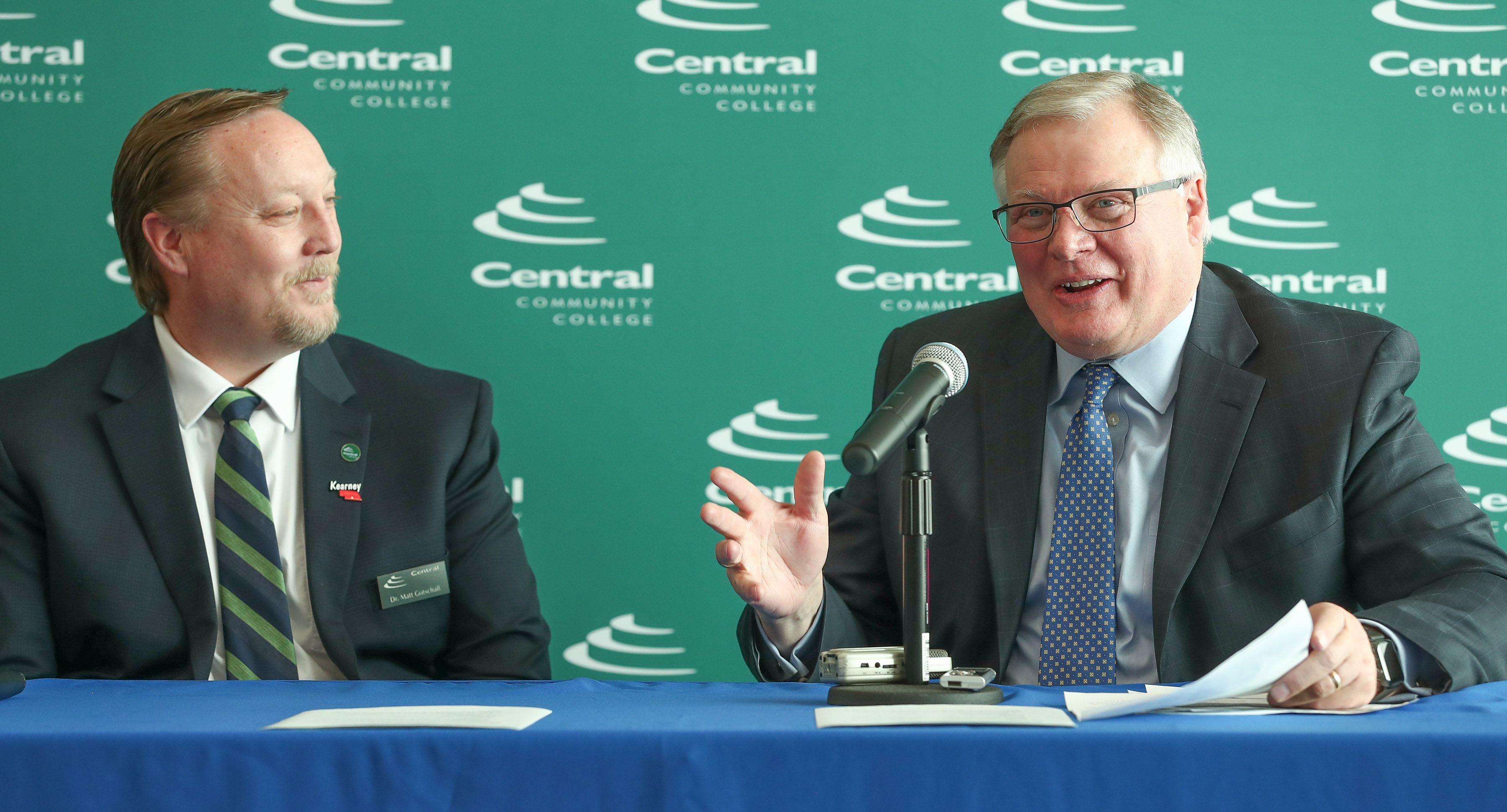 Central Community College President Matt Gotschall, left, and UNK Chancellor Doug Kristensen are pictured in February 2019 during an event announcing the CCC-UNK Pathway program, which created a new enrollment option for students who want to attend UNK but initially fall short of admissions requirements.