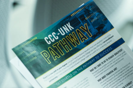 A new partnership between Central Community College and UNK creates a structured pathway for students who want to attend UNK but initially fall short of admissions requirements. CCC-UNK Pathway students will have benefits, privileges and access to UNK student services, amenities and organizations, and can live on campus while taking most of their first-year classes at CCC. Students can fully enroll at UNK after successfully completing the one-year program. (Photo by Corbey R. Dorsey, UNK Communications)