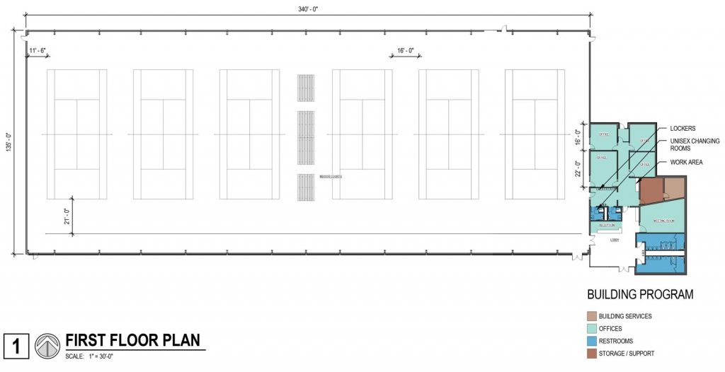 The proposed floor plan of the tennis facility at UNK's University Village includes six indoor courts, offices, a meeting room, lockers, changing room and reception and lobby area. (Courtesy The Clark Enersen Partners)