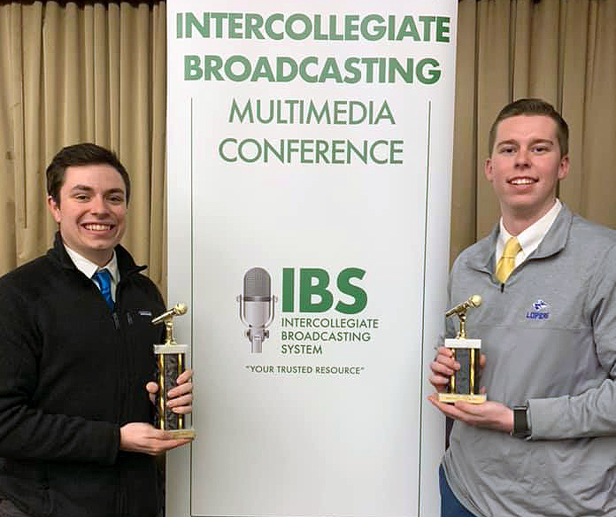 "UNK students Austin Jacobsen, left, and Evan Jones were finalists in two categories at the Intercollegiate Broadcasting System College Media Awards in New York City. They won the best sports pregame/postgame show category for ""UNK Gameday,"" a football pregame show on the campus radio station, KLPR 91.1 FM. (Courtesy photo)"