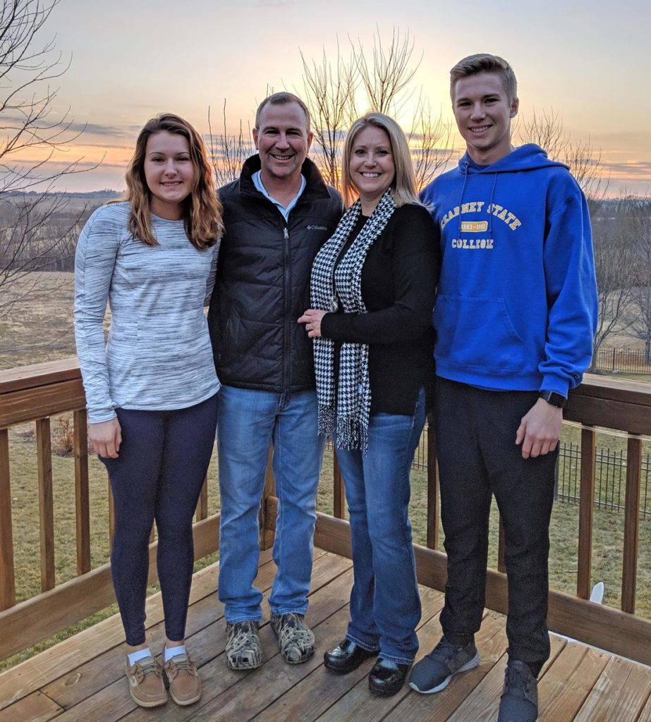 From left, Morgan, Mike, Heather and Trevor Daubert of Omaha pose for a family photo during the 2018 holiday break. Mike and Heather met at UNK in 1990 and earned their bachelor's degrees in May 1994, two months before their wedding. Their twin children Morgan and Trevor currently attend UNK. (Courtesy photo)
