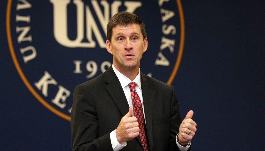"""University of Nebraska President Hank Bounds announced Monday he is leaving the university. """"Given the budget challenges of the past two years I can't imagine where we would be but for Hank Bounds. He was the right leader at a desperate time,"""" UNK Chancellor Doug Kristensen said. (Photo by Corbey R. Dorsey, UNK Communications)"""