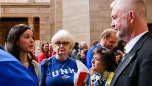 """From left, UNK student Nicole Kent, supporter Enid Hansen and associate professor Dawn Mollenkopf meet with state Sen. John Lowe of Kearney during Wednesday's """"I Love NU Advocacy Day"""" at the Capitol in Lincoln. (Photo by Amanda Andresen, UNK Communications)"""