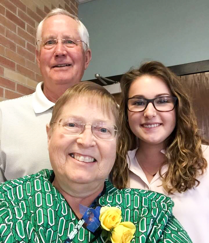 Les and Kathy Livingston of Kearney are both graduates of UNK, where Kathy worked for 38 years before retiring in December 2017. Their daughter Heather Daubert has two degrees from UNK and her children Morgan, also pictured, and Trevor currently attend the university. (Courtesy photo)