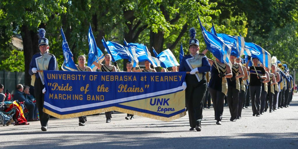 UNK's Pride of the Plains Marching Band will perform in St. Patrick's Day parades in Dublin and Limerick during a spring break trip to Ireland. Students will also visit attractions such as the Cliffs of Moher, King John's Castle and Trinity College's Old Library, which houses the Book of Kells. (Photo by Todd Gottula, UNK Communications)