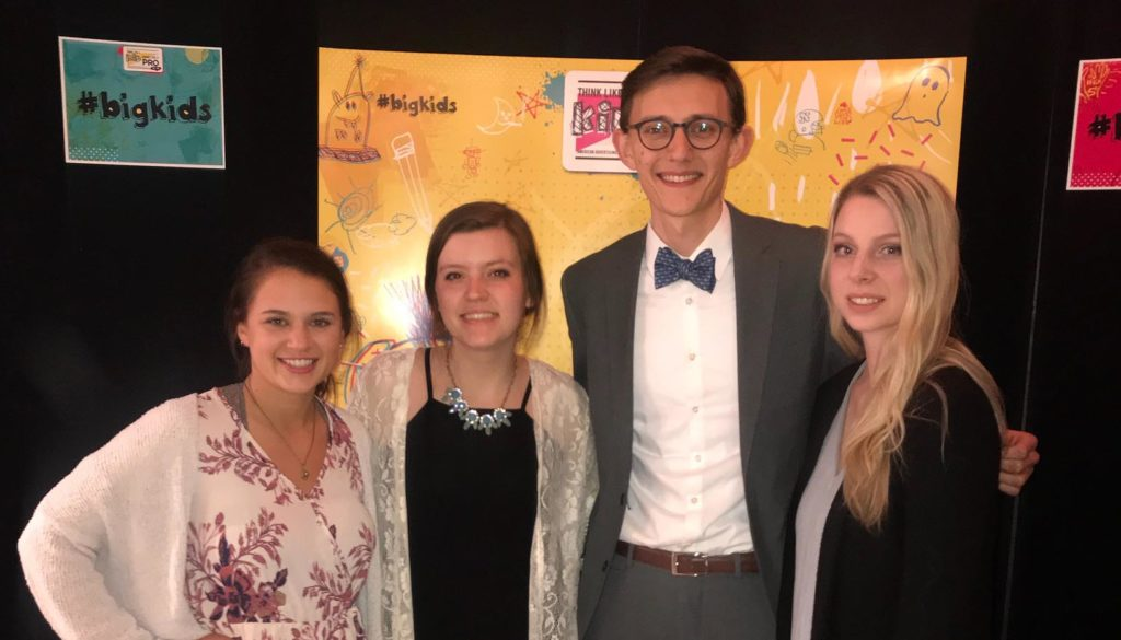 UNK students, from left, Maekayla Ward, Maggie Pierson, Jase Hueser and Lauren Reichardt earned eight awards, including best of show, at the annual Nebraska American Advertising Awards presented Saturday at the Rococo Theatre in Lincoln. (Courtesy photo)