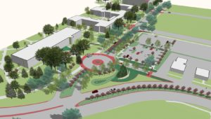 A reworked east entrance to the University of Nebraska at Kearney campus will include a circular drop-off/pick-up area in front of Warner Hall along with landscaping and other traffic improvements.