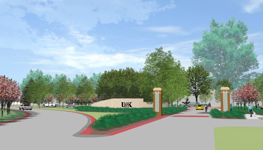 "UNK is creating a new main entrance on the east side of campus. The project will transform the area near Warner Hall into a ""front door"" that welcomes students and visitors to UNK"