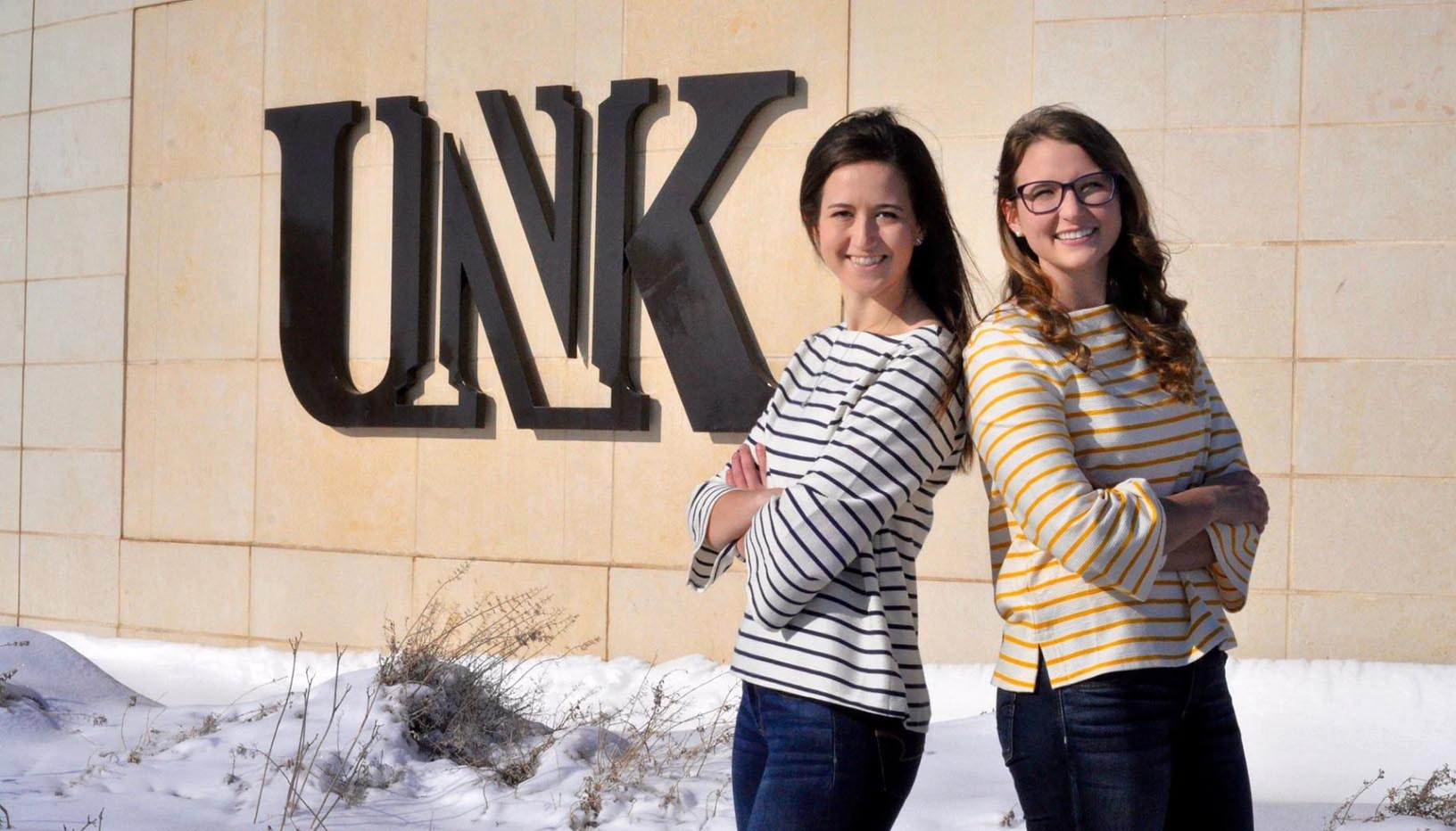 Nicole Kent, left, and Katie Schultis will take over as UNK's student body president and vice president following their March 26 inauguration. (Courtesy photo)