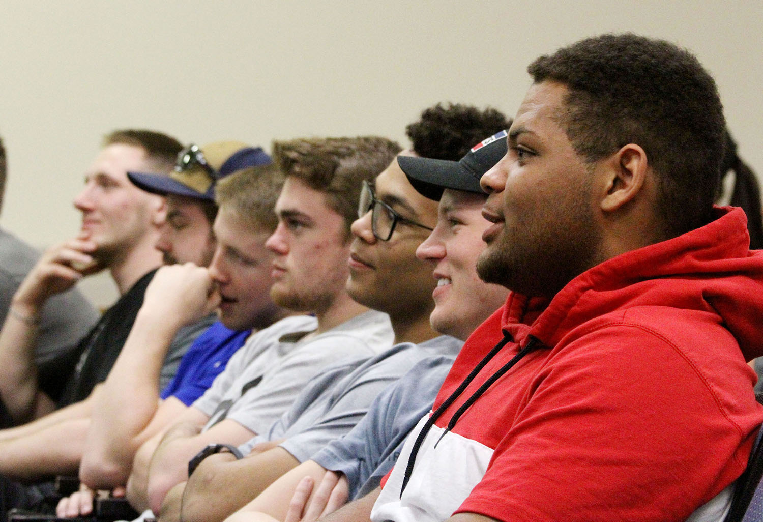 Student-athletes from all 14 UNK sports participated in active bystander training last week. The training teaches students how to identify and safely address potentially harmful behaviors and introduces them to resources available on campus and in the community. (Photo by Tyler Ellyson, UNK Communications)