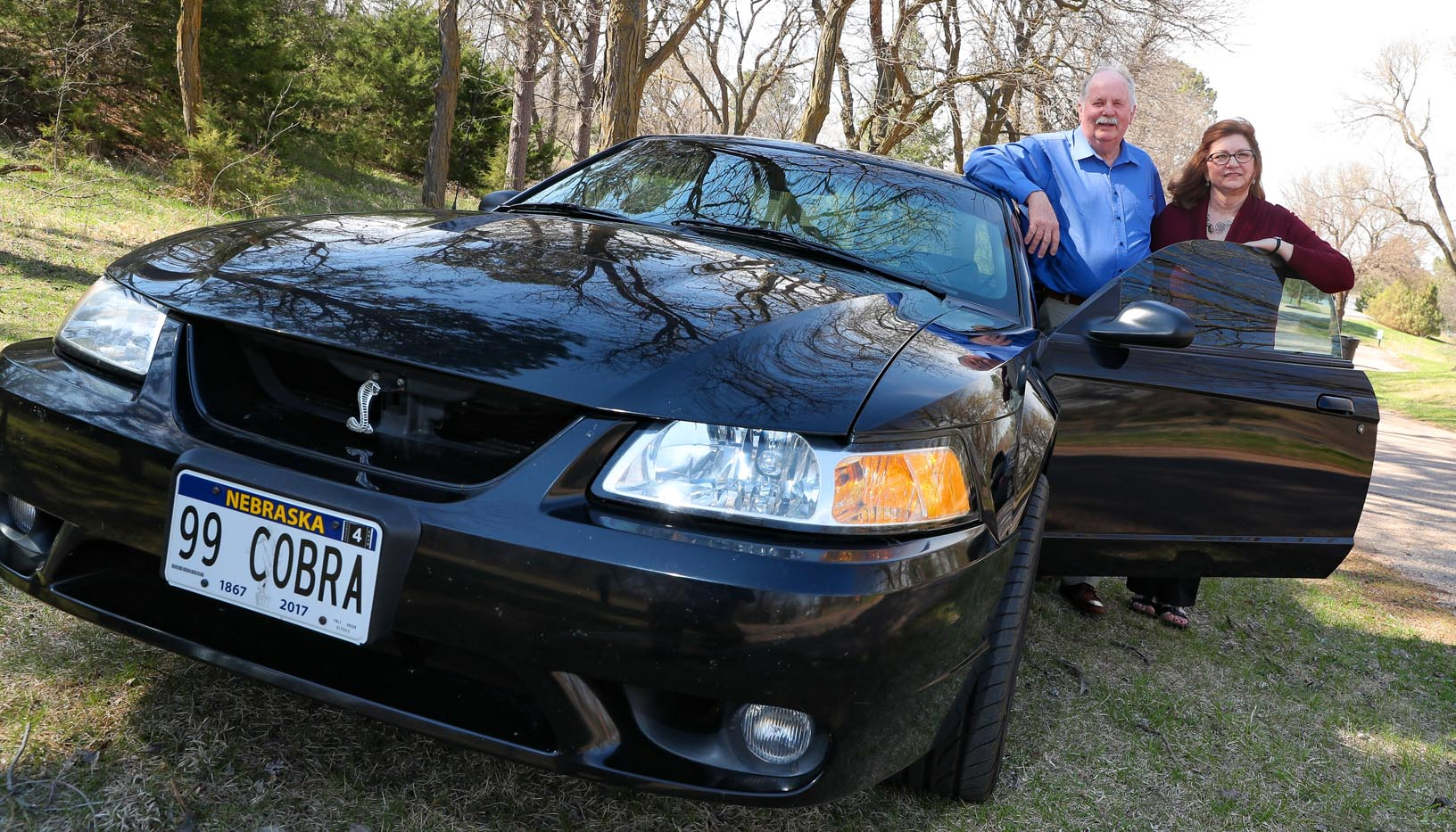 Cyndi Schroeder and her husband, Larry, own a 1999 Ford Mustang Cobra. The couple enjoys traveling to car shows across the United States, visiting areas they've never seen. (Photo by Corbey R. Dorsey, UNK Communications)