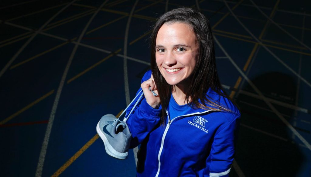 "UNK distance runner Maddie Bach credits head coach Brady Bonsall with keeping her passion for the sport alive during a rough stretch prior to her arrival in Kearney. ""I almost quit several times,"" Bach said. ""What kept me interested was him and his love for it. The fact that he had my back the whole time kind of kept me going."" (Photo by Corbey R. Dorsey, UNK Communications)"