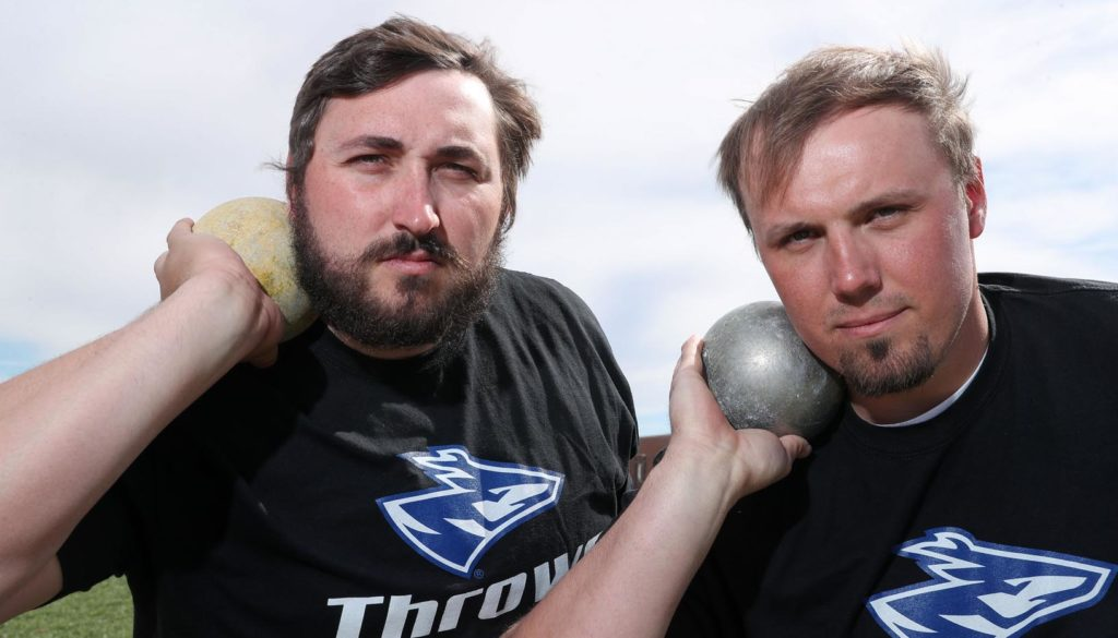 Tanner Barth, left, and Jacob Bartling lead a talented group of throwers on the UNK men's track and field team. They both qualified for the NCAA Division II Indoor Championships in March. (Photo by Corbey R. Dorsey, UNK Communications)