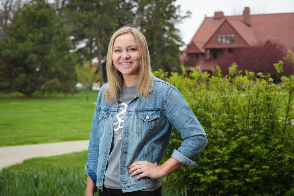 "Central City native Katie Benner was a true leader on the UNK campus, where she was involved with Greek life, admissions, undergraduate research and several other activities while maintaining a perfect 4.0 GPA. ""I've always known in my heart that this is where I was supposed to go,"" Benner said of UNK, the school she chose as a seventh grader. (Photo by Corbey R. Dorsey, UNK Communications)"