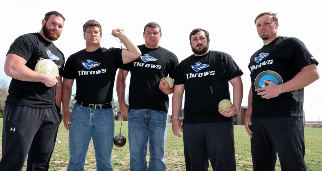 The UNK men's throwers are ranked No. 1 in NCAA Division II in the shot put and No. 4 in the discus, according to the U.S. Track and Field and Cross Country Coaches Association. Members of the team are, from left, Blake Schroeder, Andrew Heine, Zach Brittain, Tanner Barth and Jacob Bartling. (Photo by Corbey R. Dorsey, UNK Communications)