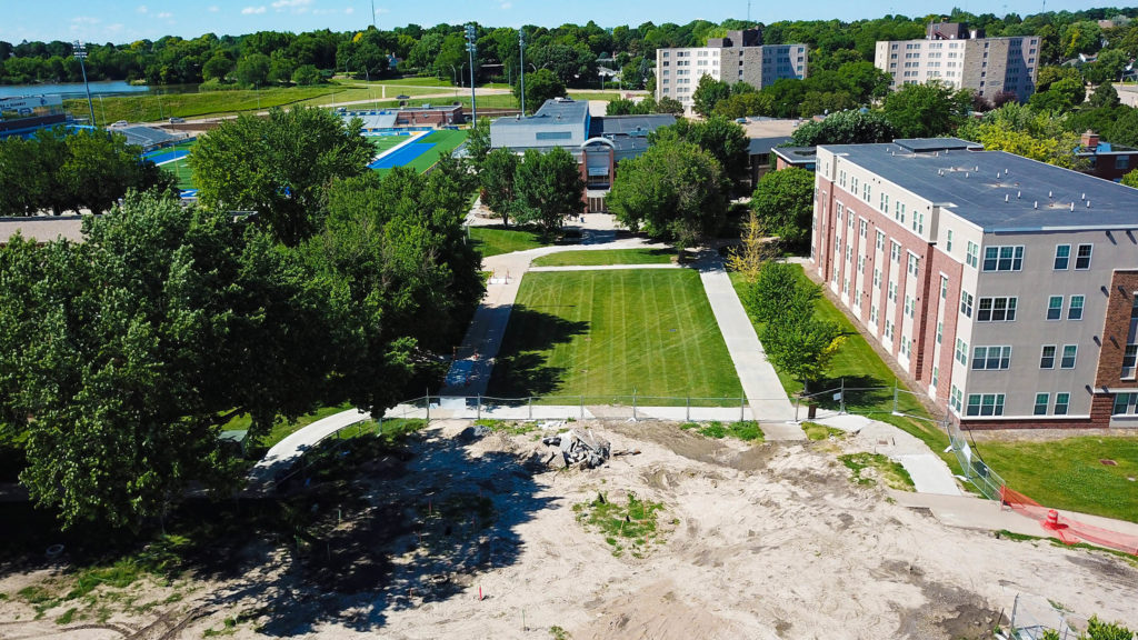 Following site preparation, workers will begin installing the new Cope Fountain in the heart of UNK's east campus. The area will serve as a gathering space for students, staff, faculty and visitors. (UNK Communications)