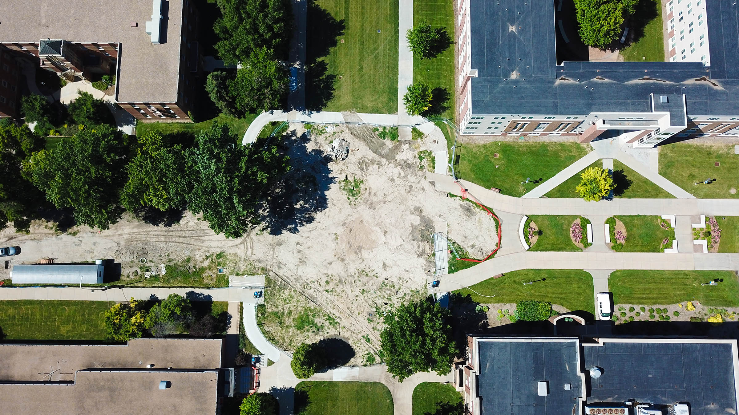 A new Cope Fountain will be installed between UNK's Nebraskan Student Union and Calvin T. Ryan Library. The project is scheduled for completion in mid-fall. (UNK Communications)