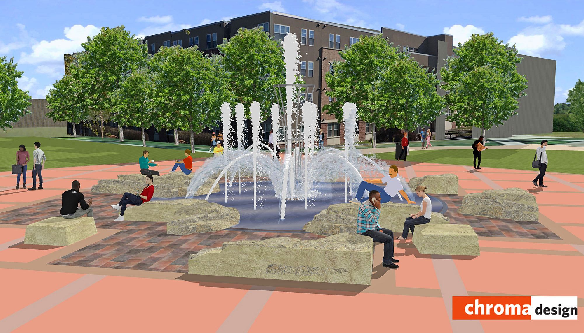 UNK's new Cope Fountain will feature a central water column within an armature feature, surrounded by several smaller jets. A separate project will add sitting stones along the fountain's perimeter. (Chroma Design)