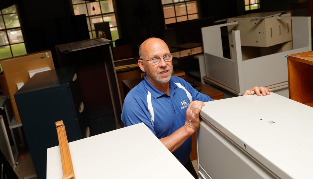 Don Wellensiek will work his final day June 28 after 15 years with UNK Facilities Management and Planning. He serves as event/moving team leader and surplus inventory manager. (Photo by Corbey R. Dorsey, UNK Communications)