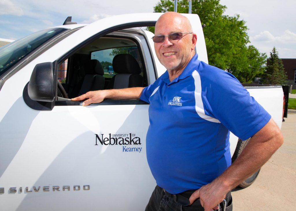 """Don Wellensiek has overseen setup and takedown for countless UNK events over the past 15 years. """"The bigger the event, the better I like it,"""" he said. """"When UNK is a showplace, I enjoy that."""" (Photo by Corbey R. Dorsey, UNK Communications)"""