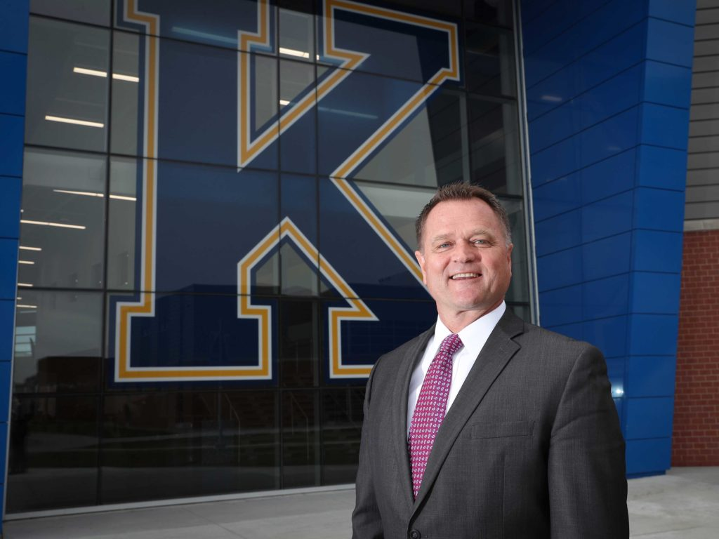 "Kent Edwards is the superintendent at Kearney Public Schools, where 72% of the teachers have at least one degree from UNK. ""I've had some exposure to a vast number of teacher preparation programs. And UNK's is second to none in my opinion,"" said Edwards, who spent two decades as a school administrator in Georgia before returning to Kearney in 2016. (Photo by Corbey R. Dorsey, UNK Communications)"