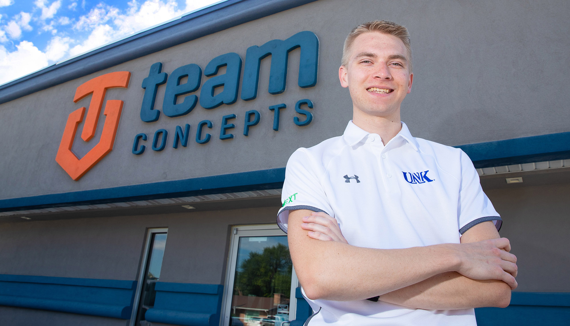 UNK student Jacob Nutter works as a part-time marketing director for Team Concepts in Kearney. He landed the job after connecting with Team Concepts owner Josh Erickson through NEXT, a business leadership program organized by UNK's College of Business and Technology and Kearney Area Chamber of Commerce. (Photo by Corbey R. Dorsey, UNK Communications)