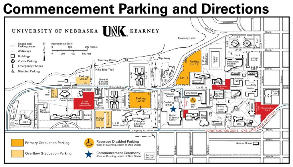 Because of ongoing construction, traffic is limited to one lane in each direction on U.S. Highway 30 along the southeast edge of campus. Construction also restricts access to campus from Highway 30 in that area. Additionally, 19th Avenue between Highway 30 and University Drive is no longer a through street.