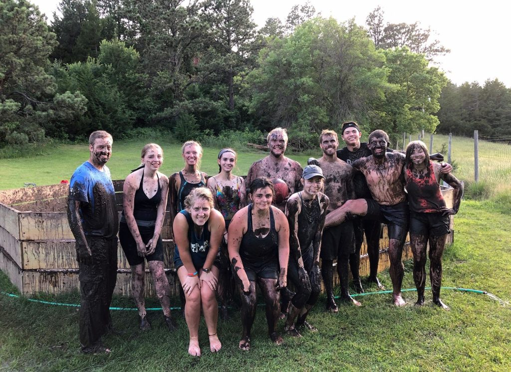 UNK students enjoy some good, clean fun during the First Adventure summer camp at the Nebraska National Forest near Halsey. (UNK First Year Program)