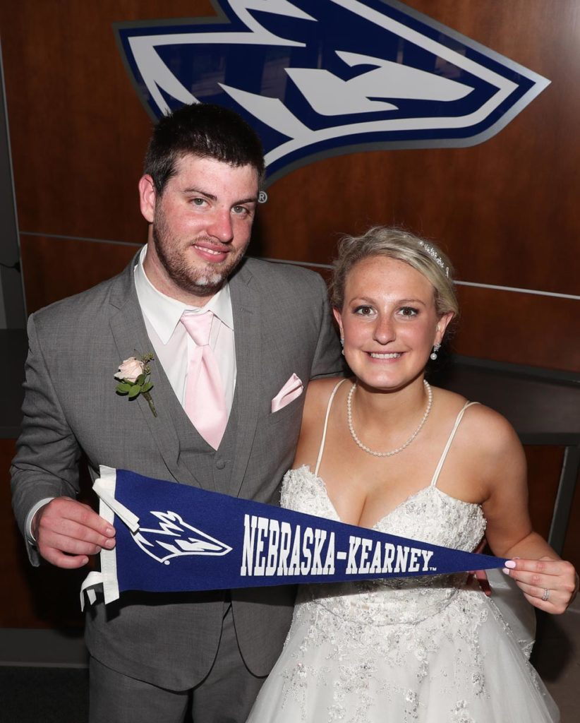 Levi Streit and Megan Woeste celebrated their wedding Saturday in UNK's Nebraskan Student Union after flooding forced them to move the reception from the Holiday Inn and Convention Center in Kearney. (Photo by Corbey R. Dorsey, UNK Communications)