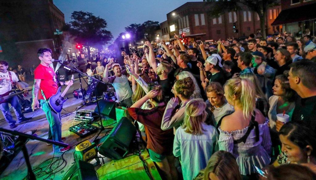 More than 400 UNK students and a couple hundred community members typically attend Destination Downtown, which is scheduled for 7-10 p.m. Thursday (Aug. 29) in downtown Kearney. Popular band Lemon Fresh Day takes the stage at 8:30 p.m. (Photo by Corbey R. Dorsey, UNK Communications)
