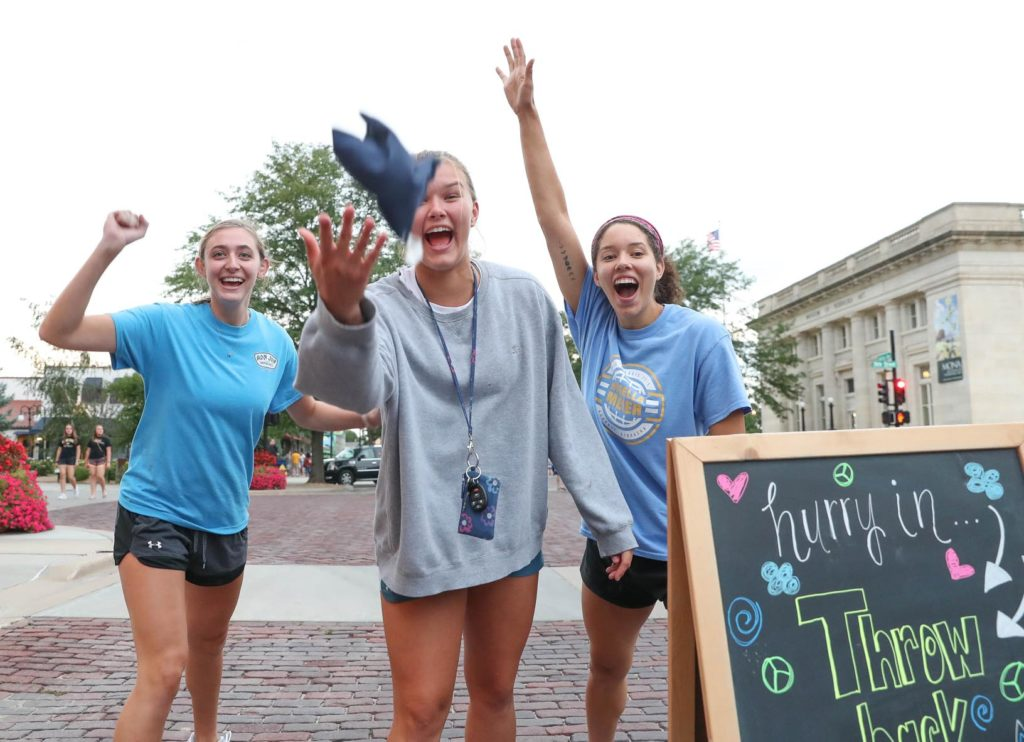 UNK students experienced downtown Kearney during Thursday evening's Destination Downtown event. The annual back-to-school celebration features food, games, product giveaways and prizes, discounts at downtown businesses and a concert from Lemon Fresh Day. (Photo by Corbey R. Dorsey, UNK Communications)