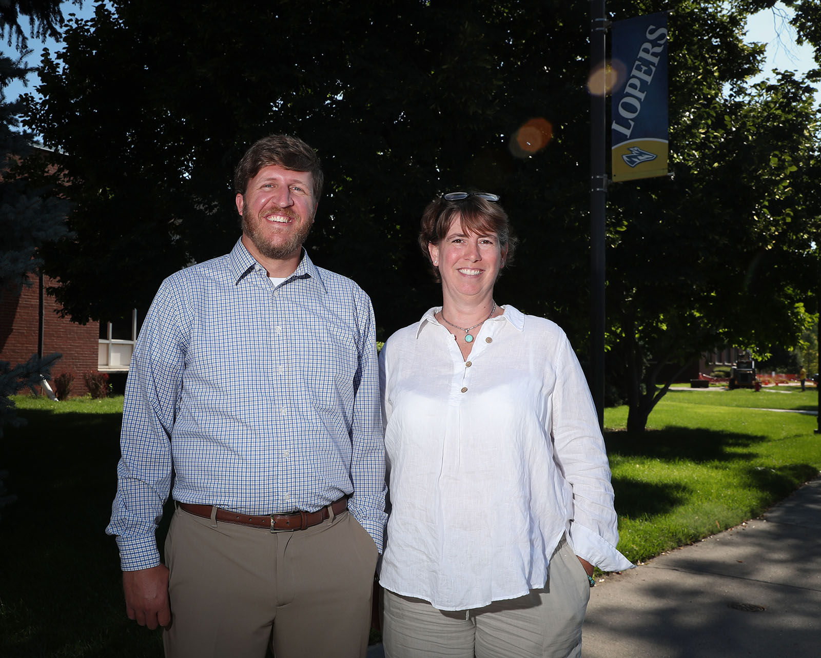 Associate director Aaron Estes and director Amy Rundstrom lead UNK's Academic Advising and Career Development Office. Located inside the Memorial Student Affairs Building, the office offers a variety of services that help students succeed both during and after their time at UNK. (Photo by Corbey R. Dorsey, UNK Communications)