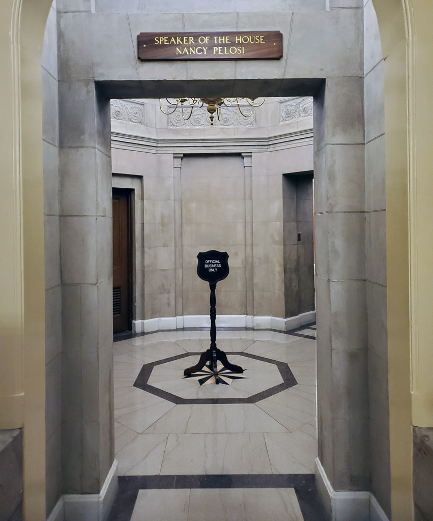 """Ellery Butterfield snapped this photo of Speaker of the House Nancy Pelosi's office while interning with U.S. Rep. Adrian Smith in Washington, D.C. """"I ran into Nancy Pelosi, like very literally,"""" the UNK student said. """"I accidentally bumped into her and that was a little bit embarrassing."""" (Courtesy photo)"""