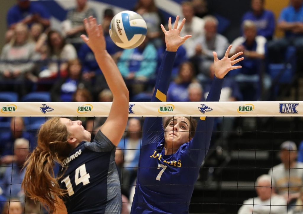 Middle hitter Anna Squiers, the daughter of head coach Rick Squiers, led the UNK volleyball team in blocks and finished fourth in kills last season. (Photo by Corbey R. Dorsey, UNK Communications)