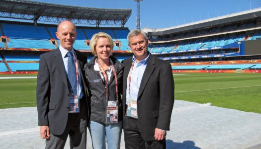 UNK graduate Dick Wiles, right, is pictured at the 2010 FIFA World Cup in South Africa. Wiles oversaw the development and operation of telecommunication and information technology systems at the past seven men's World Cups. (Courtesy photo)
