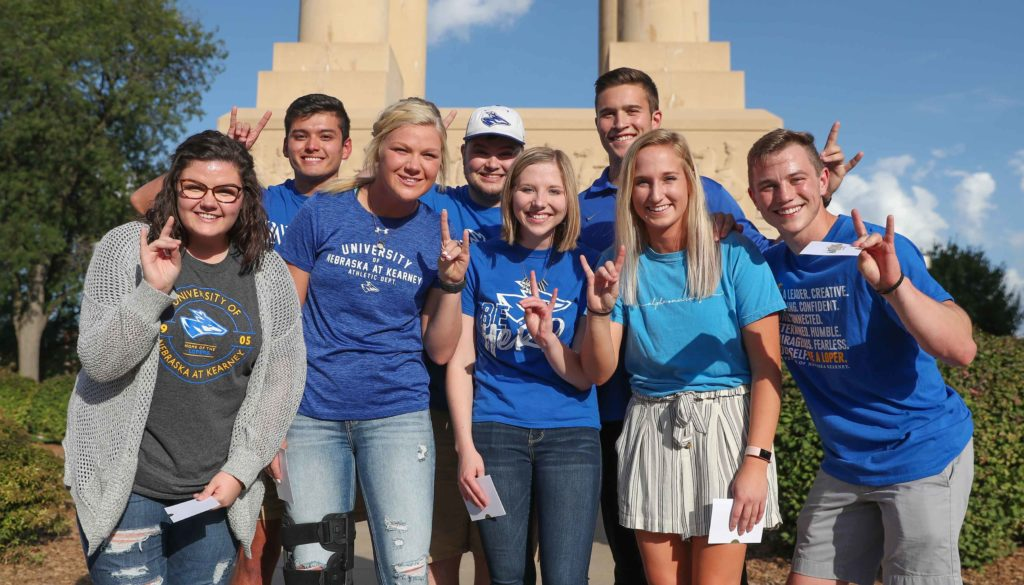 Finalists for UNK's homecoming royalty include, front row left to right: Makenzie Petersen, Parker Humpal, Haley Pierce and Hannah Sealock, and back row left to right: Jose Ortega, Jacob Roth, Zach Sullivan and Gabe Crocker.