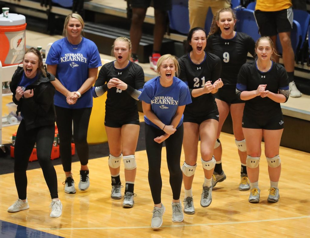 After transferring to UNK in January 2018 and redshirting last season, Maddie Squiers, middle, is now the starting setter and a co-captain for the Loper volleyball team, which is coached by her father Rick. (Photo by Corbey R. Dorsey, UNK Communications)