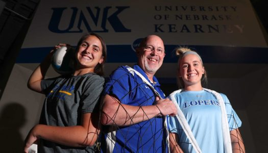 UNK head volleyball coach Rick Squiers will have daughters Anna, left, and Maddie in the starting lineup when the 11th-ranked Lopers begin the 2019 season by hosting a five-team tournament today and Saturday in the Health and Sports Center. (Photo by Corbey R. Dorsey, UNK Communications)