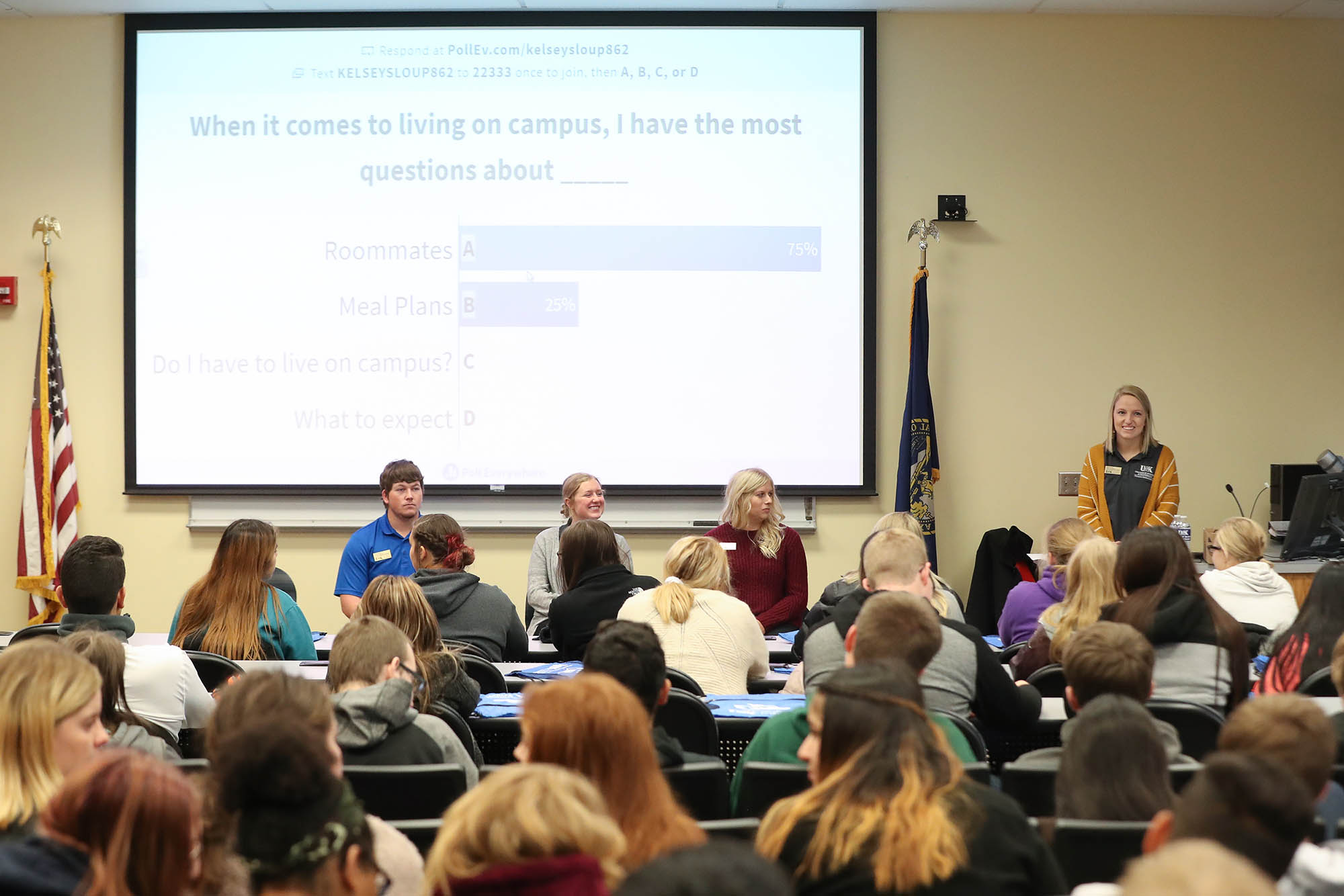 About 125 students from Grand Island Senior High School visited UNK on Wednesday to learn about local career opportunities and how UNK can help them reach their goals. The event, hosted by UNK's College of Business and Technology, included business and student panels and a campus tour. (Photos by Corbey R. Dorsey, UNK Communications)