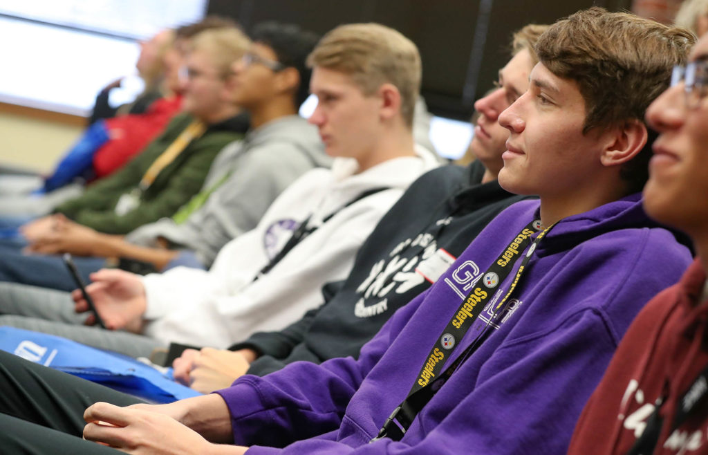 Grand Island Senior High School students listen to a presenter Wednesday during an event at UNK.