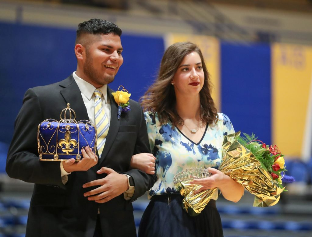 UNK 2018 homecoming king Odwuar Quiñonez of Lexington and queen Anna Wegener of Lindsay.