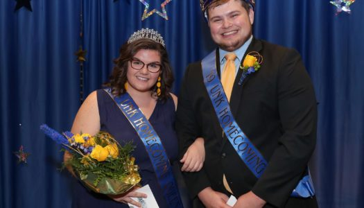 Makenzie Petersen of O'Neill and Jacob Roth of Milford were crowned royalty at University of Nebraska at Kearney homecoming festivities Thursday. (Photo by Corbey R. Dorsey, UNK Communications)