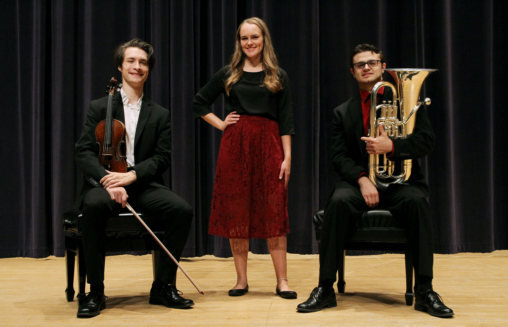 From left, UNK students Joshua Wetovick of Fullerton, Grace Lueders of Blair and Trey Switzer of Gretna were selected as winners of the 2019 Concerto/Aria Competition at UNK. (Photo by Tyler Ellyson, UNK Communications)