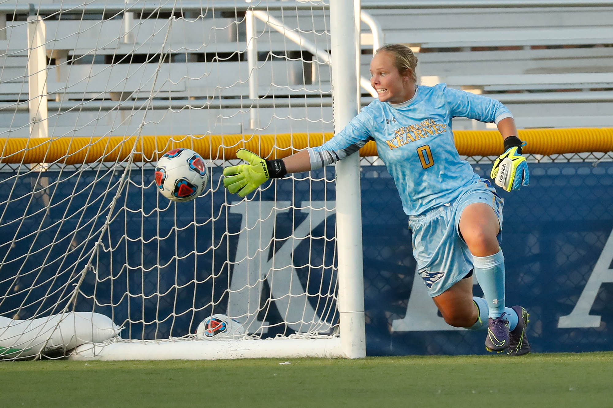 Allie Prososki entered the 2019 season with the best goals against average (1.13) in UNK history. She's recorded a school-record 13 individual shutouts, and her 13 career wins, 208 saves, .836 save percentage and 40 starts at goalie all rank second all-time at UNK. (Photos by Corbey R. Dorsey, UNK Communications)